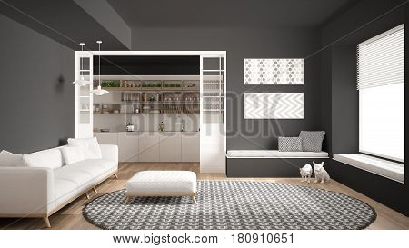 Minimalist living room with sofa big round carpet and kitchen in the background gray modern interior design, 3d illustration