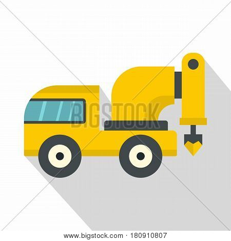 Yellow drilling machine icon. Flat illustration of yellow drilling machine vector icon for web