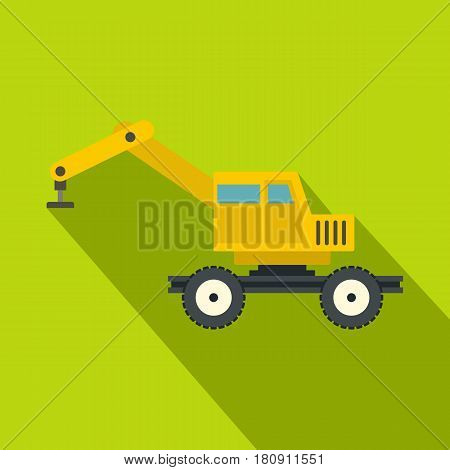 Crane truck icon. Flat illustration of crane truck vector icon for web