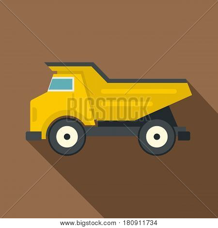 Yellow dump truck icon. Flat illustration of yellow dump truck vector icon for web