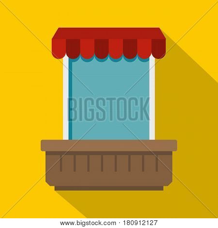 Window with canopy icon. Flat illustration of window with canopy vector icon for web