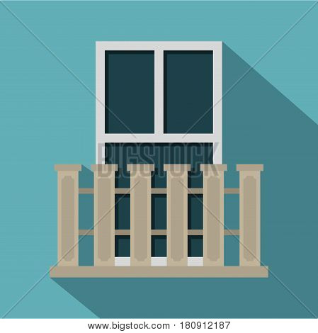Balcony balustrade with window i icon. Flat illustration of balcony balustrade with window i vector icon for web