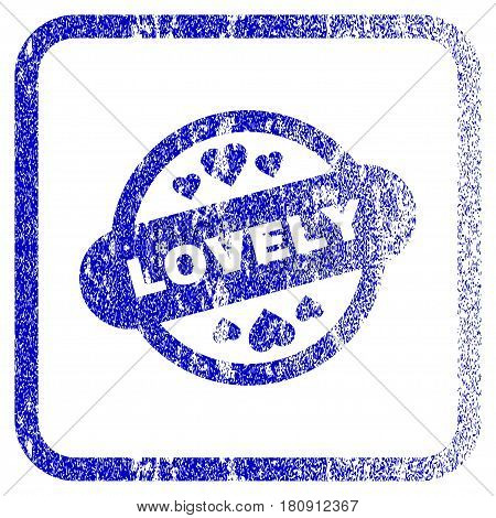 Lovely Stamp Seal textured icon for overlay watermark stamps. Blue vectorized texture. Flat vector symbol with dirty design inside rounded square frame. Framed blue rubber seal stamp imitation.