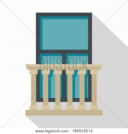 Classic balcony balustrade with window icon. Flat illustration of classic balcony balustrade with window vector icon for web