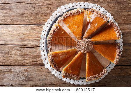 Tasty Hungarian Dobosh Torte With Caramel Decoration Close-up. Horizontal Top View