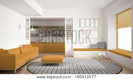 Minimalist living room with sofa big round carpet and kitchen in the background white and yellow modern interior design, 3d illustration