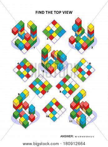Educational math puzzle: Find the top view for each of the toy blocks structures. Answer included.