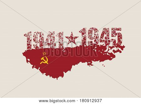 May 9 Russian holiday Victory Day background template. Russian translation of the inscription: May 9. Happy Victory day. 1941 and 1945 cracked numbers