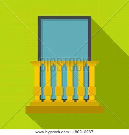 Classic yellow balcony balustrade with window icon. Flat illustration of classic yellow balcony balustrade with window vector icon for web