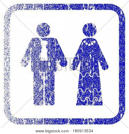 Newlyweds textured icon for overlay watermark stamps. Blue vectorized texture. Flat vector symbol with dust design inside rounded square frame. Framed blue rubber seal stamp imitation.