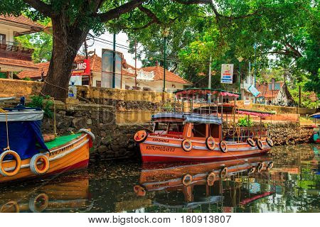 Houseboat on the canals of Alleppey Kerala state South India 02 april 2017. Travel Asia.