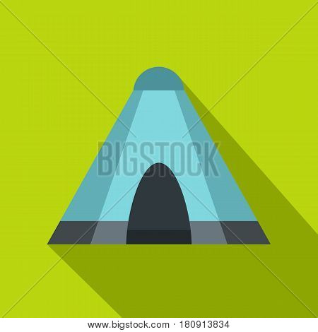 Blue tent icon. Flat illustration of blue tent vector icon for web