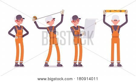Set of male professional worker, wearing orange overall, doing measurement, planning with spirit level and tapeline, standing in akimbo pose, full length, front, rear view, isolated, white background
