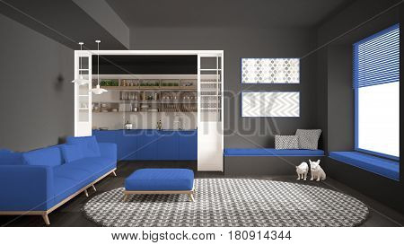 Minimalist living room with sofa big round carpet and kitchen in the background gray and blue navy modern interior design, 3d illustration