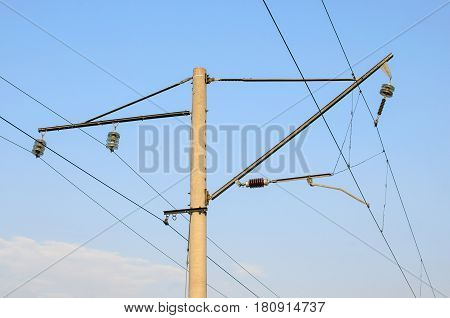 Railroad overhead lines against clear blue sky Contact wire. High voltage railroad power lines on neutral blue sky background