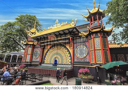 COPENHAGEN DENMARK - JUNE 15: View of Tivoli Gardens with chinese design in 2012
