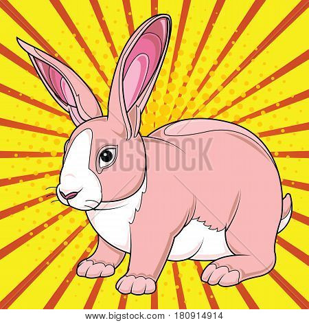 Happy easter cards illustration pop art style with easter bunny easter rabbit cartoon vector illustration.