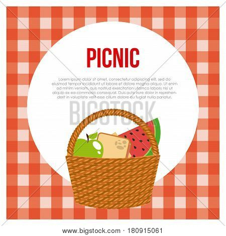 basket with fruits and sandwich icon over picnic tablecloth background. colorful design. vector illustration