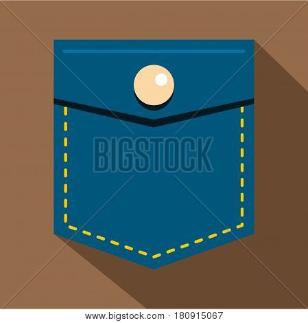 Blue jeans pocket with button icon. Flat illustration of blue jeans pocket with button vector icon for web