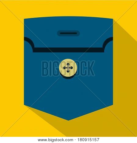 Pocket with button con. Flat illustration of pocket with button vector icon for web