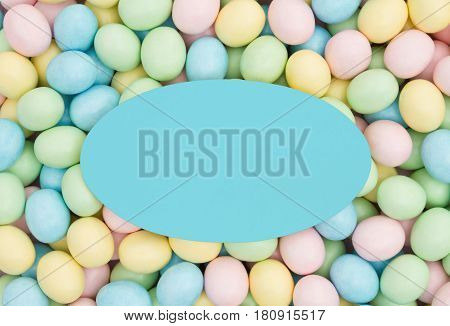 Old fashion Easter greeting card Retro Easter eggs candy with teal blank card for your message