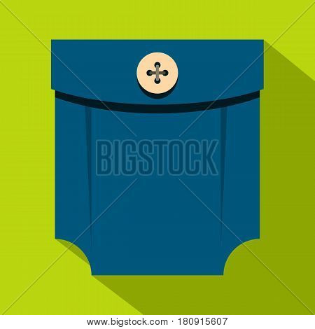 Blue shirt pocket with button icon. Flat illustration of blue shirt pocket with button vector icon for web
