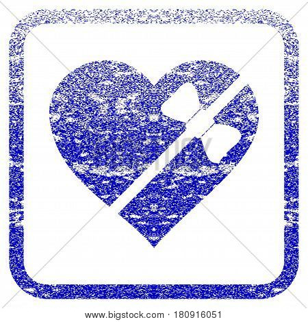 Tied Love Heart textured icon for overlay watermark stamps. Blue vectorized texture. Flat vector symbol with dust design inside rounded square frame. Framed blue rubber seal stamp imitation.