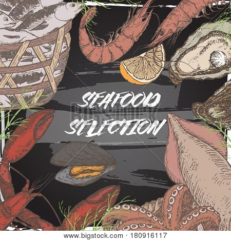 Vintage fish market color template with fish and seafood baskets, shrimps, lobster, oysters on blackboard background. Great for markets, grocery stores, organic shops, food label design.