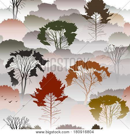 Seamless vector pattern. Top view of an autumn forest with deciduous trees in the fog. About the environment nature travel. Mysterious landscape.