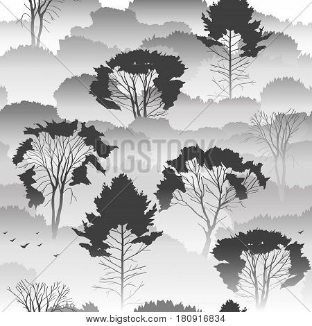 Seamless vector black and white pattern. Top view of an autumn forest with deciduous trees in the fog. About the environment nature travel. Mysterious landscape.