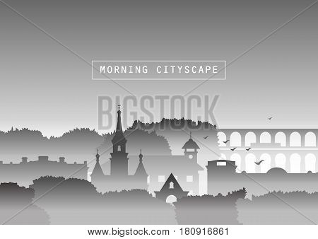 Vector illustration. Silhouettes of church old houses trees and bridge in fog. Smog autumn urban landscape. Template for site tourist brochures black and white version.