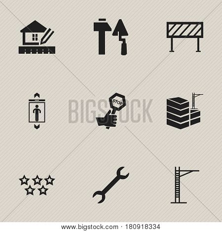 Set Of 9 Editable Construction Icons. Includes Symbols Such As Five Starlet, Lift, Endurance And More. Can Be Used For Web, Mobile, UI And Infographic Design.