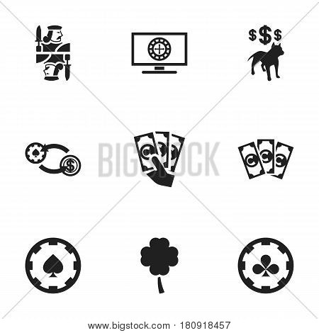 Set Of 9 Editable Gambling Icons. Includes Symbols Such As Lucky Leaf, Swap, Roulette On Monitor And More. Can Be Used For Web, Mobile, UI And Infographic Design.