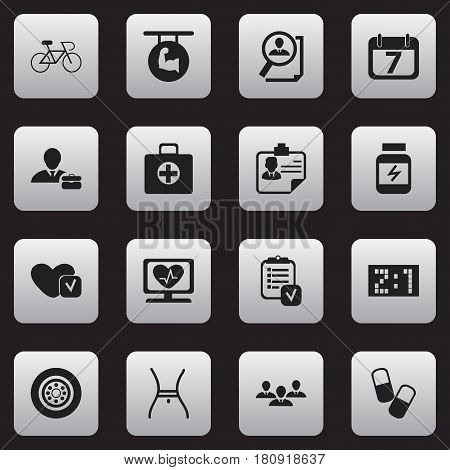 Set Of 16 Editable Complex Icons. Includes Symbols Such As First Aid Box, Questionnaire, Velocipede And More. Can Be Used For Web, Mobile, UI And Infographic Design.
