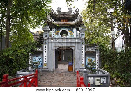 Hanoi, Vietnam - March 9, 2017: The Ngoc Son Temple in Hanoi.