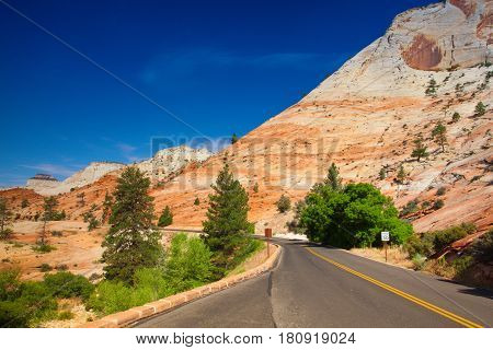Famous Zion National Park. It is a southwest Utah nature preserve distinguished by Zion Canyon's steep red cliffs