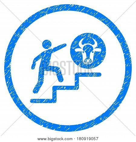 Person Climbing To Cow grainy textured icon inside circle for overlay watermark stamps. Flat symbol with unclean texture. Circled vector blue rubber seal stamp with grunge design.