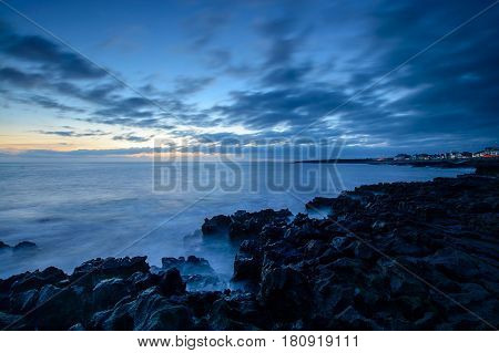 The coast at Porthcawl at sunset on the Glamorgan coast Wales