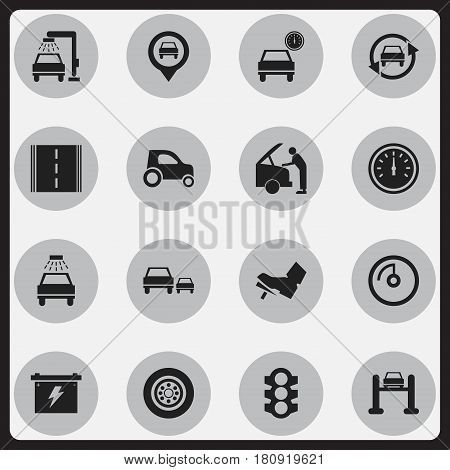 Set Of 16 Editable Car Icons. Includes Symbols Such As Treadle, Vehicle Wash, Tire And More. Can Be Used For Web, Mobile, UI And Infographic Design.