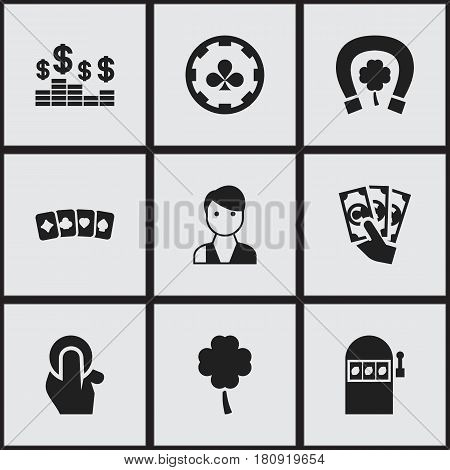 Set Of 9 Editable Gambling Icons. Includes Symbols Such As Lucky Leaf, Jackpot, Trader And More. Can Be Used For Web, Mobile, UI And Infographic Design.