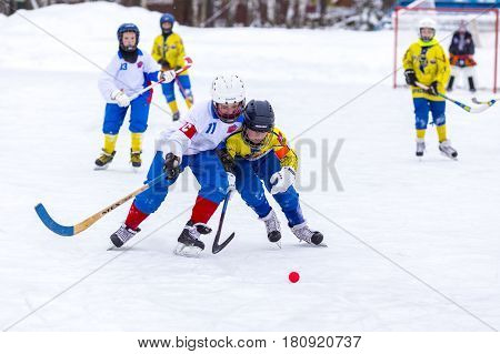 RUSSIA, KRASNOGORSK - JANUARY 21, 2016: Second stage of Children's hockey League bandy