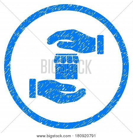 Real Estate Insurance Hands grainy textured icon inside circle for overlay watermark stamps. Flat symbol with scratched texture. Circled vector blue rubber seal stamp with grunge design.