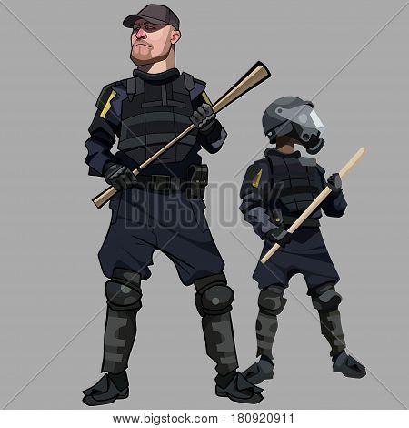 cartoon men in special clothes police officers in bulletproof vests