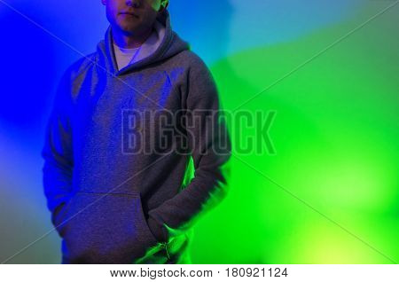 The Man, Guy In The Blank Black , Baseball Cap, Grey Hoody,  On A White Background, Mock Up, Free Sp