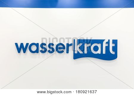 Moscow, Russia - April, 2017: Logo sign of Wasser Kraft company. Wasserkraft is a German producer of sanitary products and bath furniture