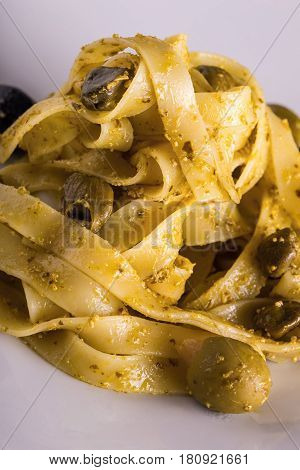Detail Of Tagliatelle With Pesto And Capers