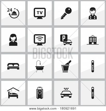 Set Of 16 Editable Motel Icons. Includes Symbols Such As Baggage, Champagne, Monitor And More. Can Be Used For Web, Mobile, UI And Infographic Design.