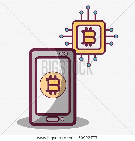 concept smartphone and circuit bitcoin money currency, vector illustration