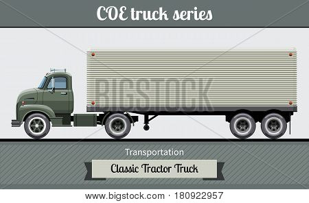 Classic Coe Tractor Trailer Truck Side View
