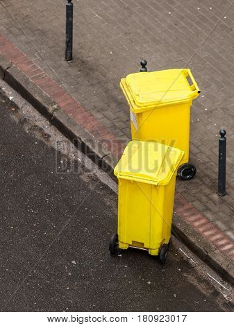 Plastic Wheely Bins In The Street Outside